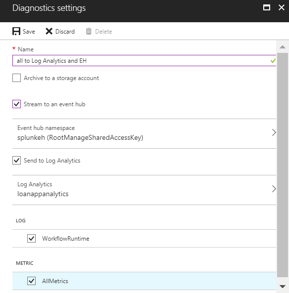 Azure named diagnostic setting blade