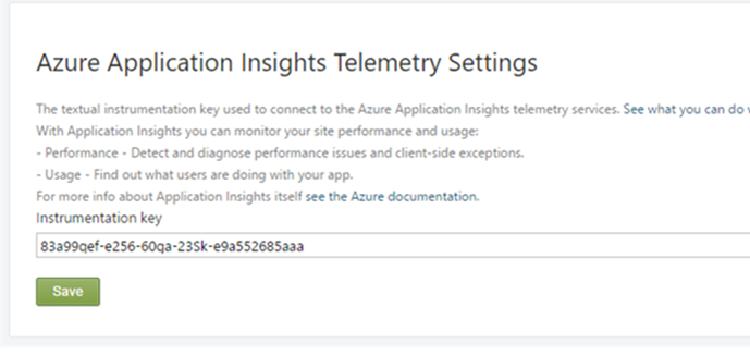 Azure Applications Telemetry Settings