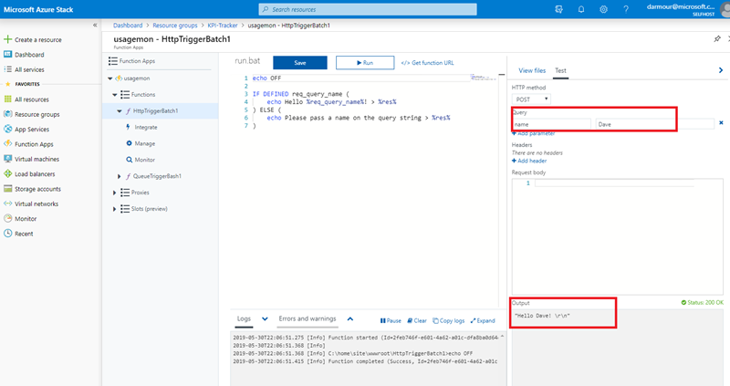 Screenshot showing how to test and run functions directly in the Azure Stack portal
