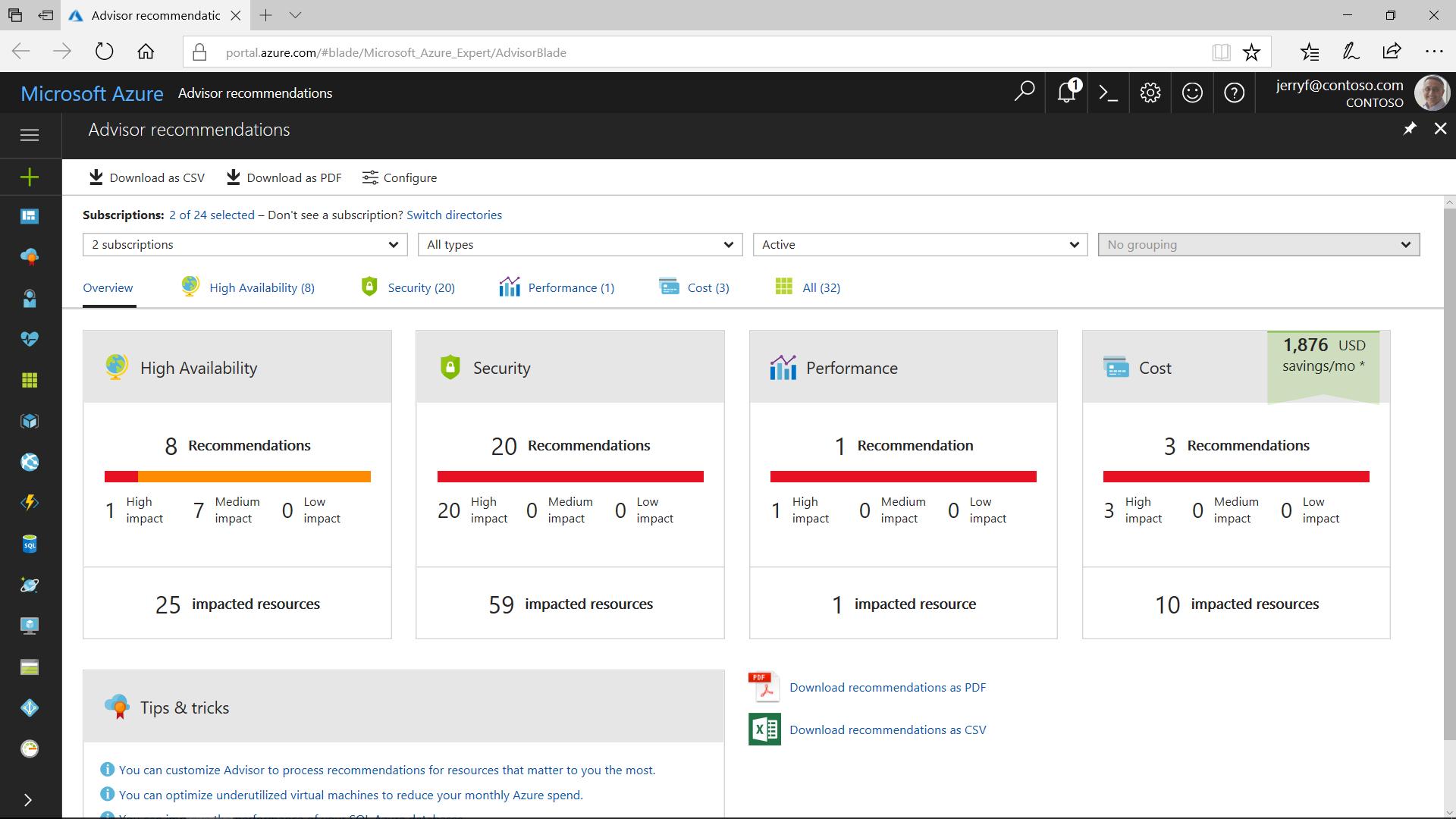 Microsoft Azure Advisor - dashboad