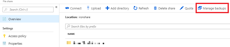 Screenshot from the Azure portal showing the Azure Files portal and highlighting the Manage backups button