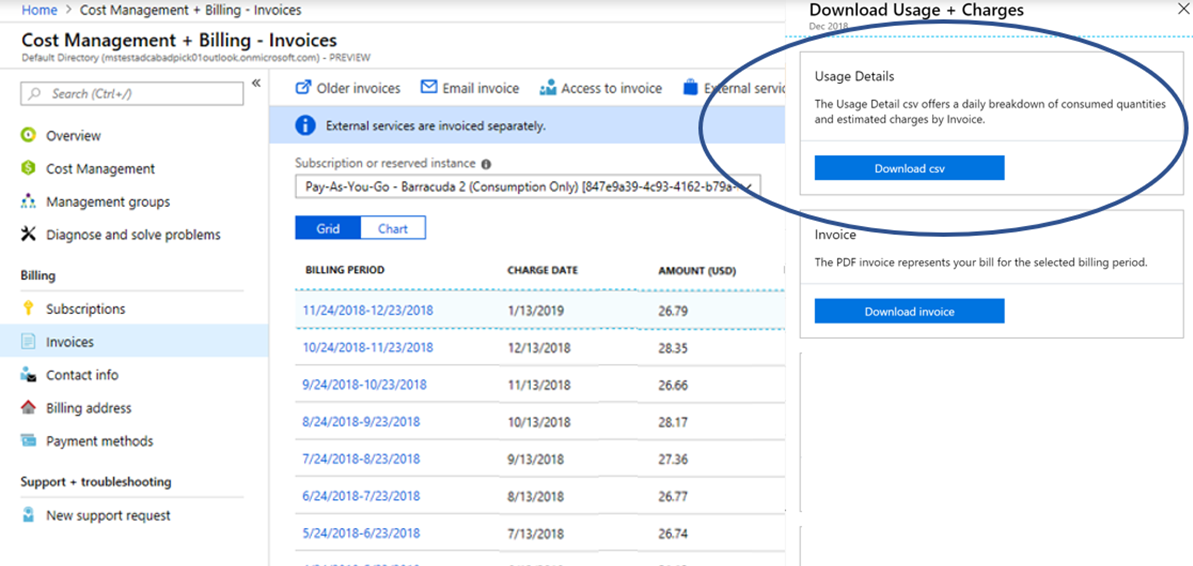 Azure Usage Download for invoice reconciliation