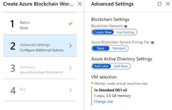 Azure Blockchain Service settings from Azure Blockchain Workbench deployment experience
