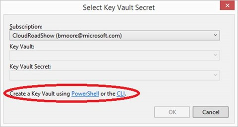 Select KeyVault Secret dialog