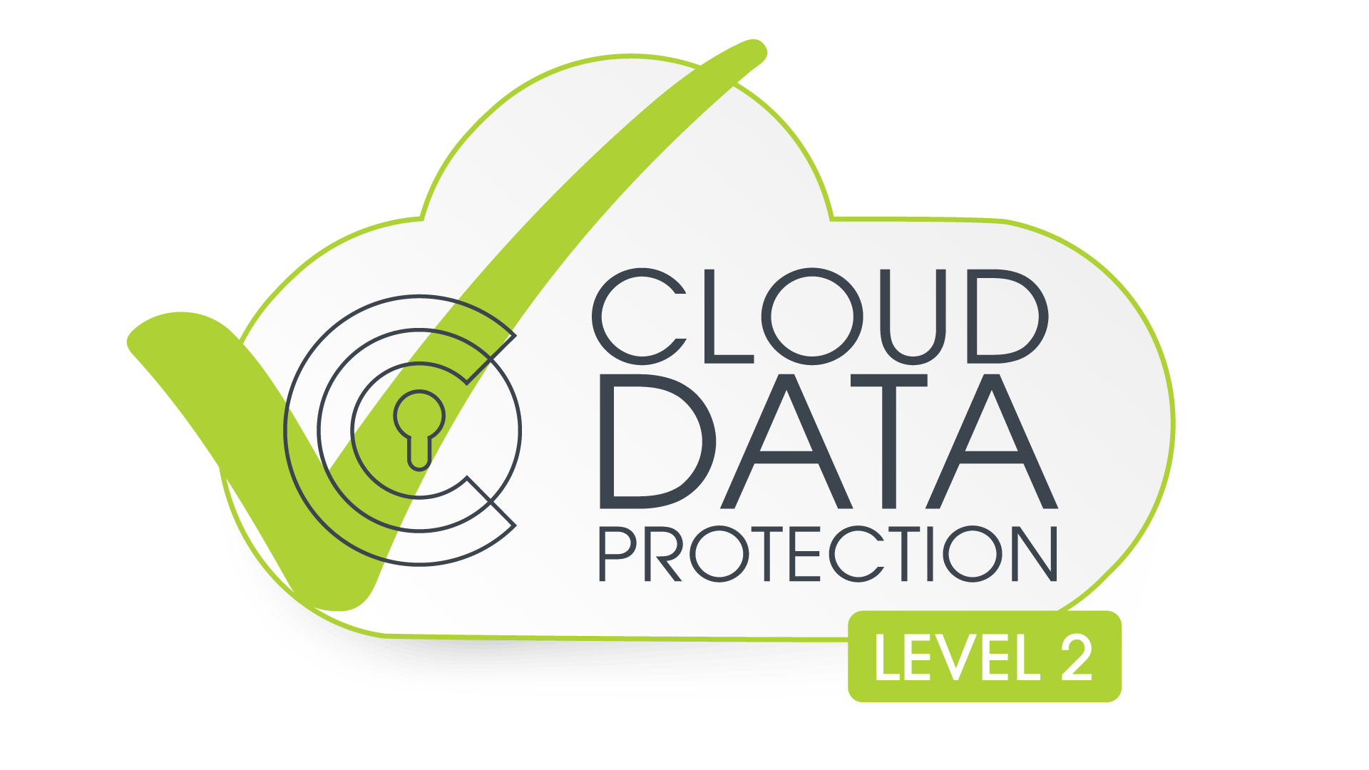 A green outline of a cloud with a green check mark and black text that reads cloud data protection level two