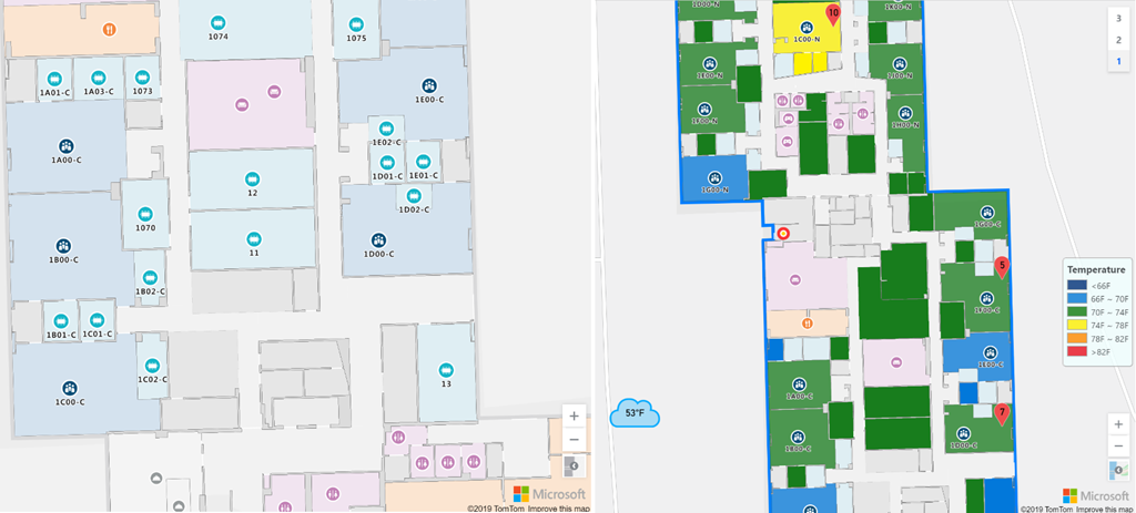 On the left, a picture of an indoor map with stylized floorplan for room types.  On the right, a picture of an indoor map with style overlays for current room temperature.