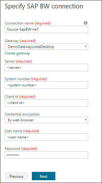 SAP BW connection settings