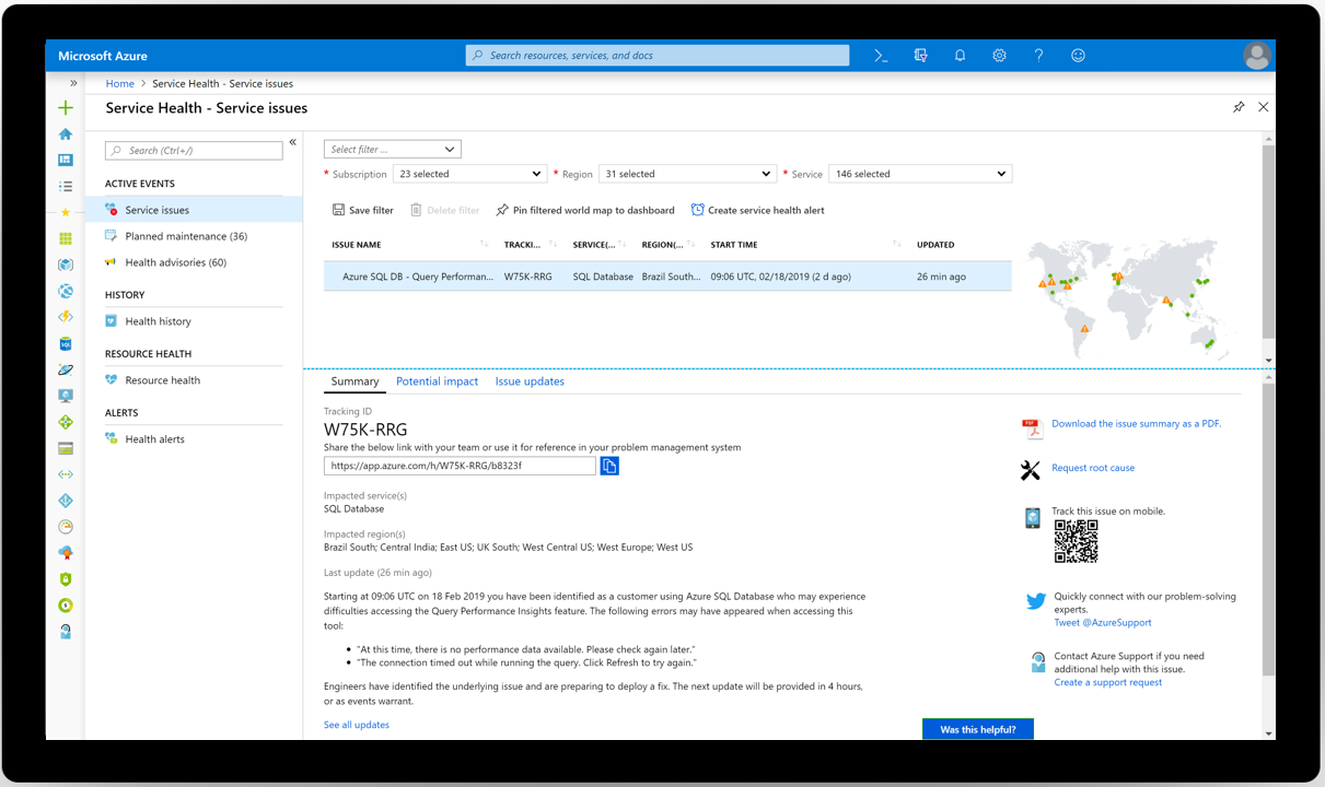 Screenshot of Service Health - Service issues blade in Azure portal