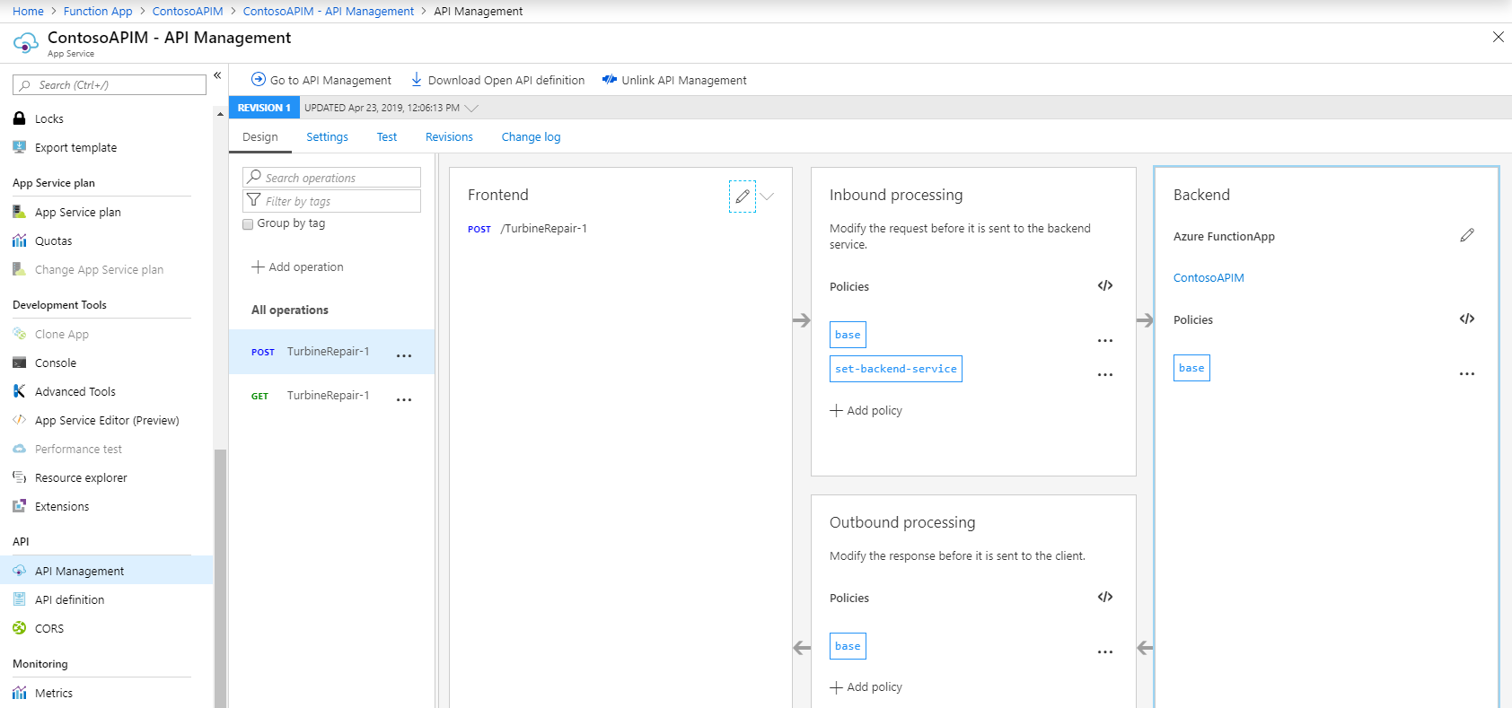 Linking API Management dashboard to Function Apps