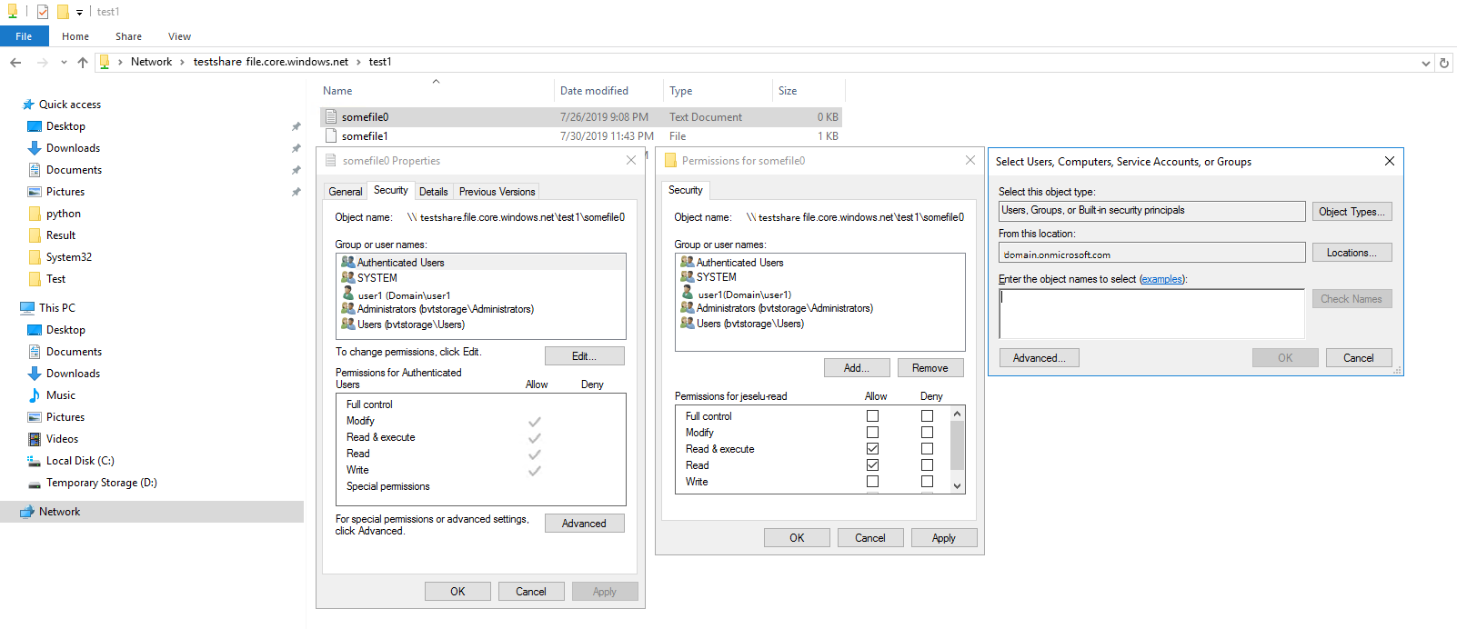 Integration with Windows File Explorer on permission assignments