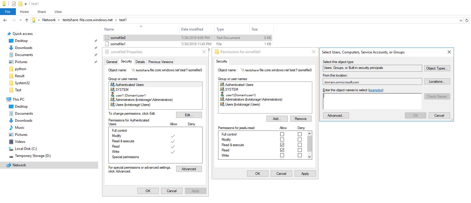 アクセス許可の割り当てにおける Windows エクスプローラーとの統合
