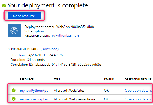 Azure App Service shows a real-time view of the provisioning process, including a convenient link to jump to the newly provisioned application.