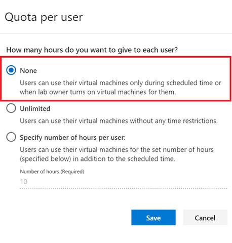 Screenshot of quota per user selection