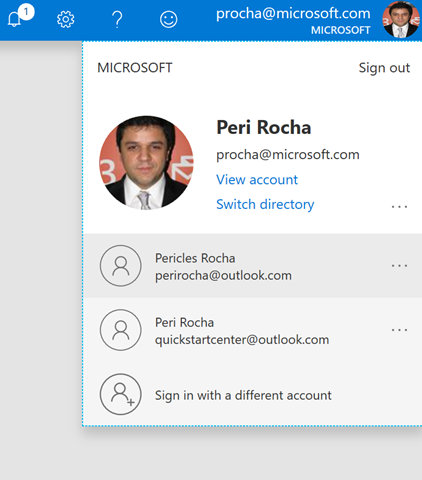 Account switching in the Azure portal for Peri Rocha