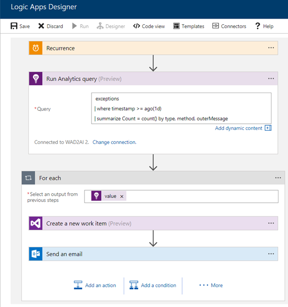 Azure Application Insights connector for Azure Logic Apps