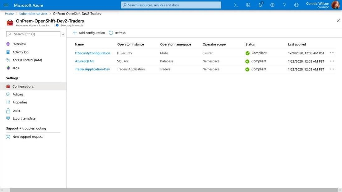 Managing multiple configurations for an on-premises OpenShift deployment from Azure Arc.