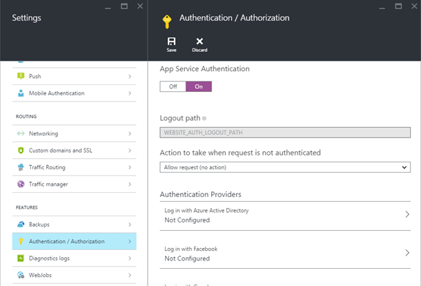 Enabling Authentication / Authorization