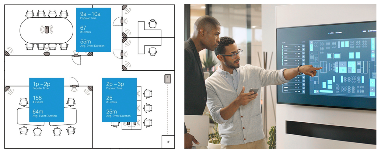 Steelcase has accelerated its IoT development with Azure Digital Twins and the Microsoft Graph, building its Steelcase Workplace Advisor app for facility managers (left) and Steelcase Find app for occupants (right).