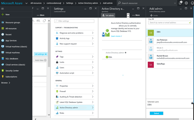 Azure portal AD administrator DBA representing an Azure AD group