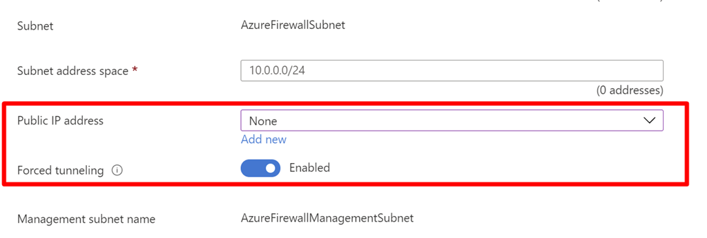 An image of Azure Firewall that now includes new options for public IP address and forced tunneling.
