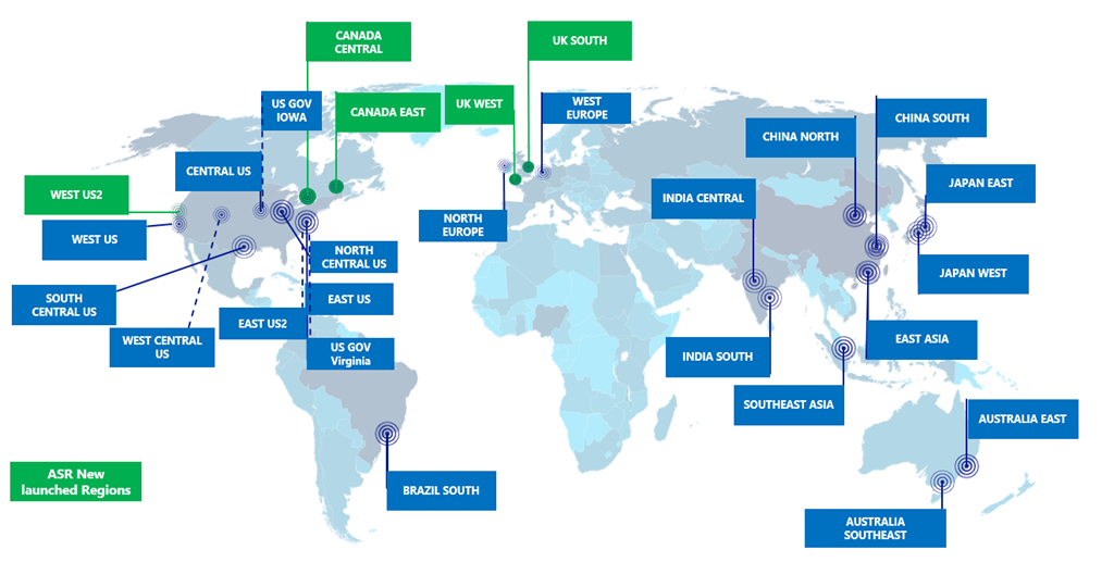 Azure Site Recovery Available In Five New Regions Blog - Us map with north south east west