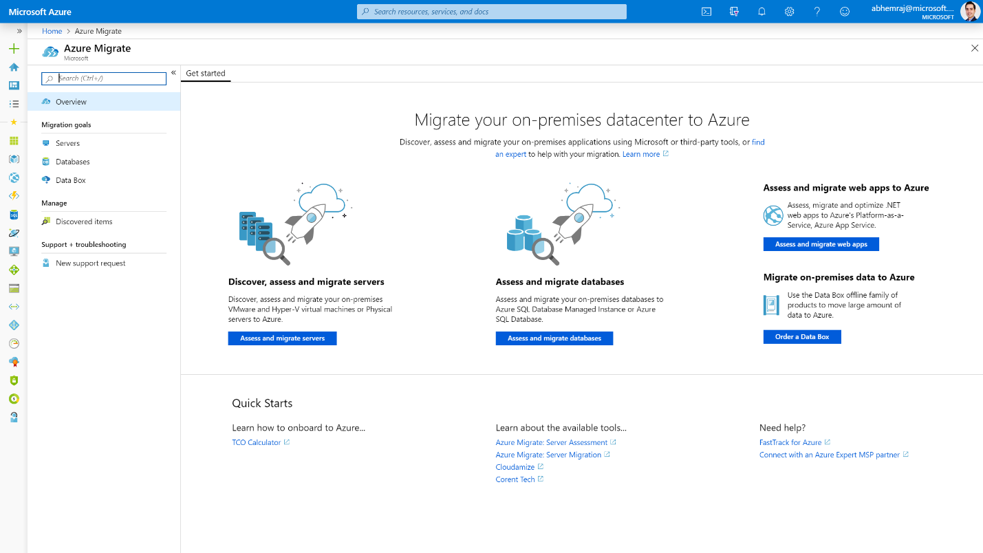 Microsoft Azure portal displaying the Azure Migrate overview