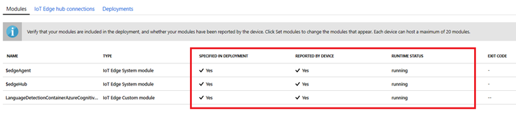 Screenshot of IoT Edge device details section