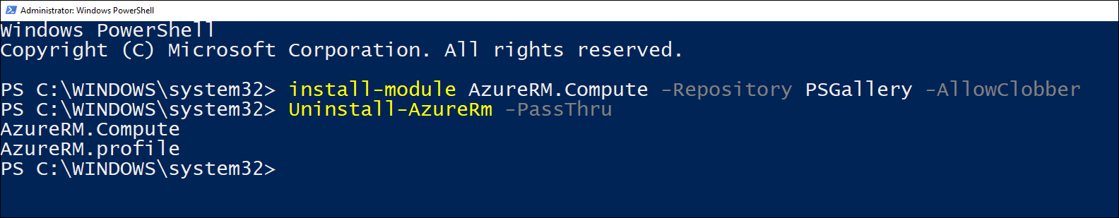 Screenshot of PowerShell session where Uninstall-AzureRm cmdlet was run.