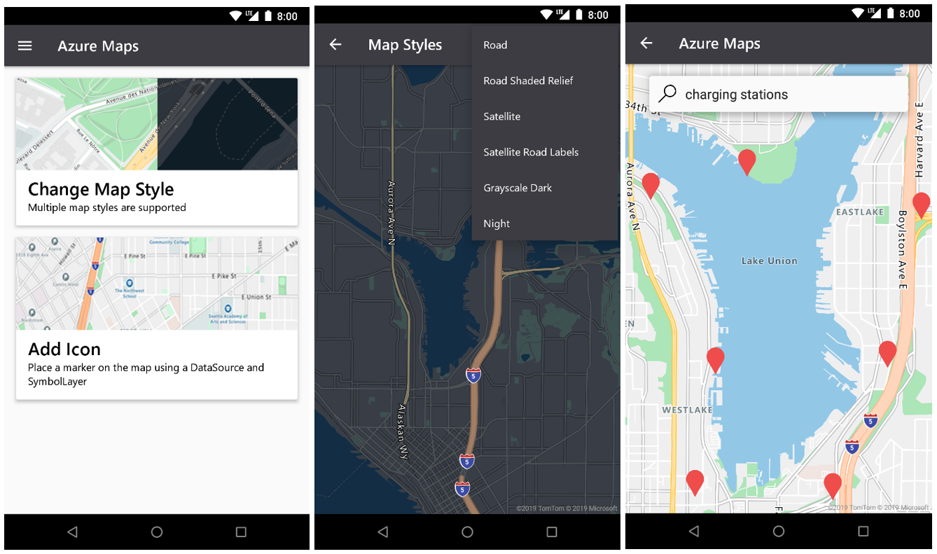 Three screenshots of Azure Maps in a mobile device