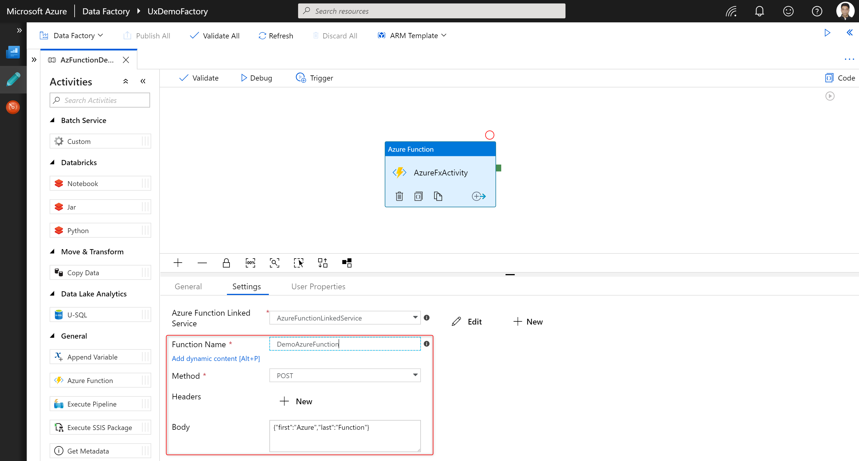 Screenshot of the Azure portal showing an Azure Function activity inside a data factory pipeline