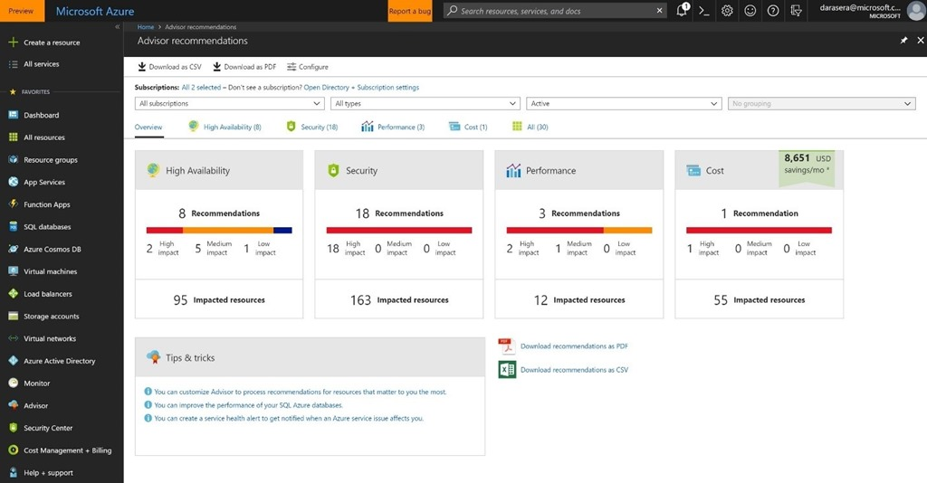 Screenshot of Azure Advisor recommendations in the Azure portal.