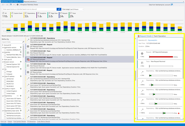 Operation Tracking with Application Insights in Visual Studio