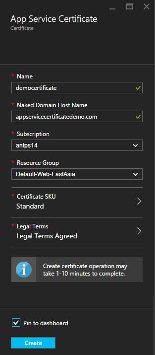 App Service Certificate create blade