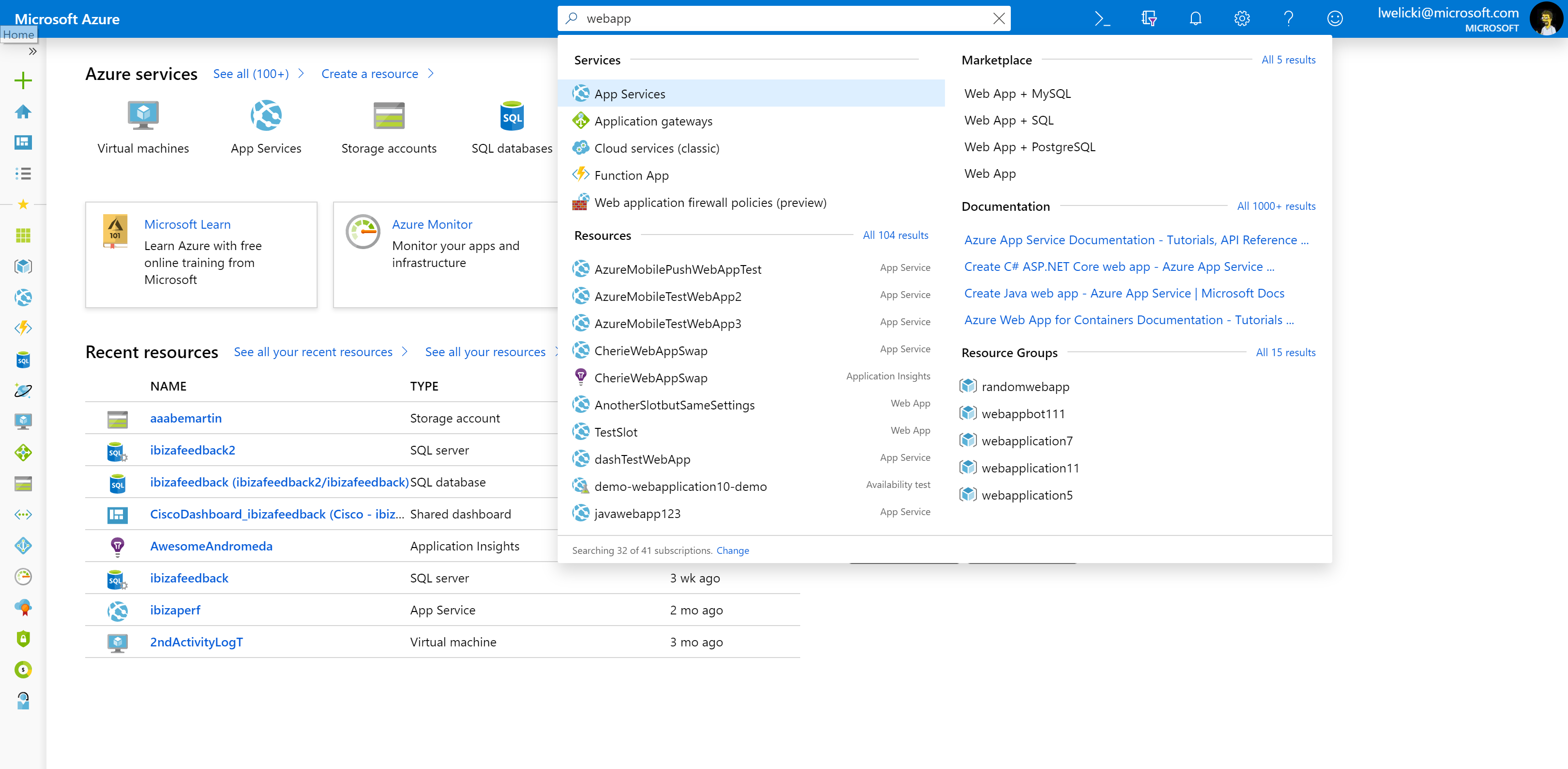 Improvements in global search results in the Azure portal