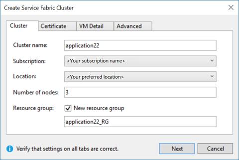 Azure Service Fabric create cluster