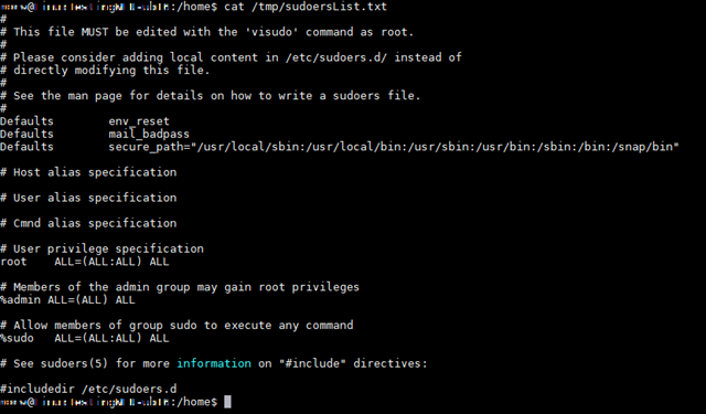 Screenshot of code proving Sudoers file is copied using the exploitation