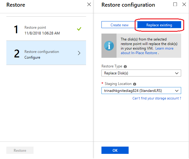 Screenshot of replace existing under restore configuration