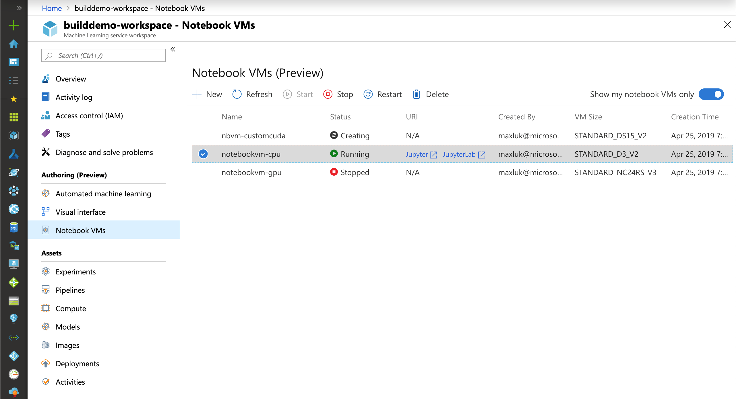 Hosted notebook VM (preview) in Azure Machine Learning