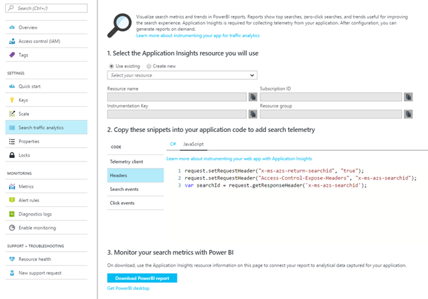 Azure Search traffic analytics in the Azure portal