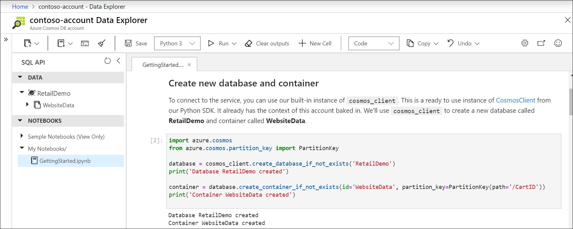 ノートブックでの組み込み Python SDK を使用した新しいデータベースとコンテナーの作成。