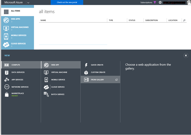 Azure Web Apps Gallery available only in new Azure portal