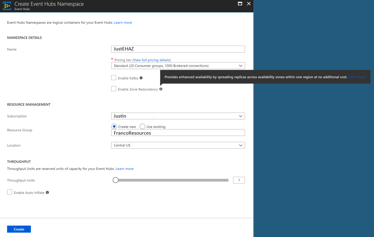 Azure Event Hubs Standard in the Azure portal
