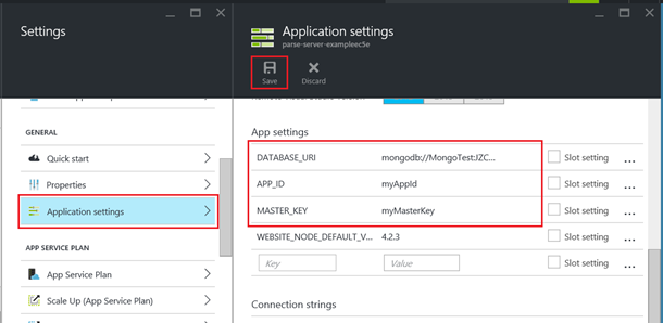 Parse application settings in the portal