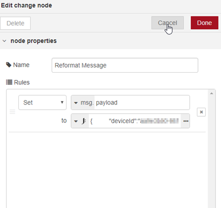 How to edit the change node