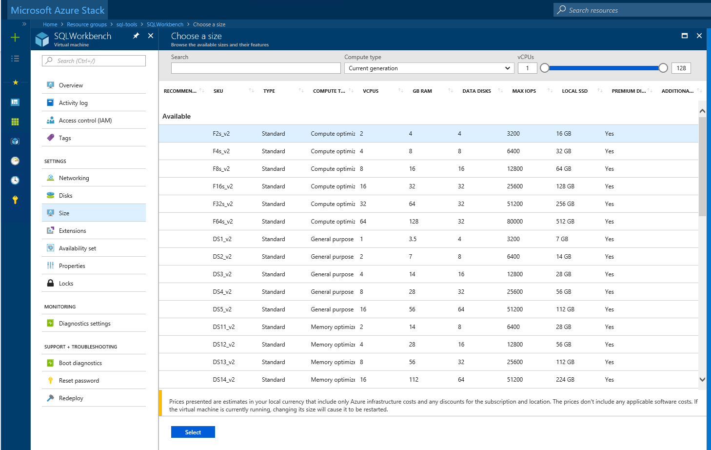 Choose a virtual machine size through the portal in Microsoft Azure Stack