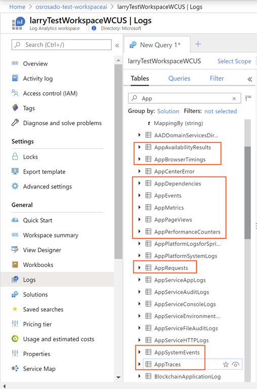 Application Insights Data Schema