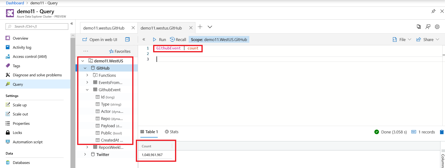 Screenshot of Azure Data Explorer demo11 and GitHub database