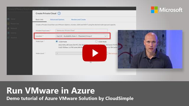 Instantánea del video de YouTube con el botón de reproducción para Ejecutar VMware en Azure tutorial