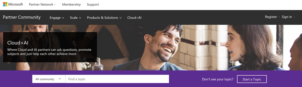 Screenshot of Cloud+AI Partner Community website