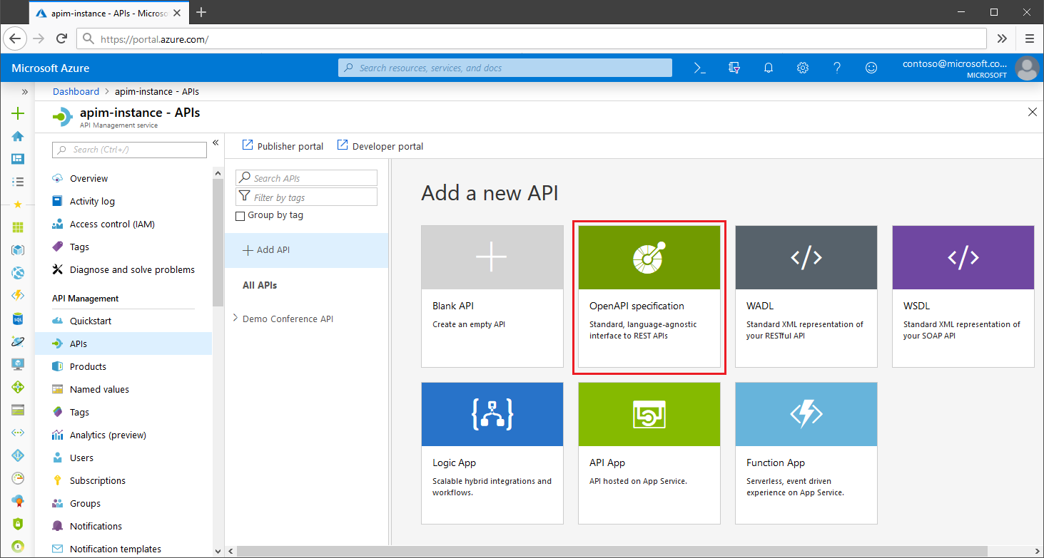 Importing APIs in Microsoft Azure